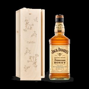 Whisky in engraved case - Jack Daniels Honey Bourbon