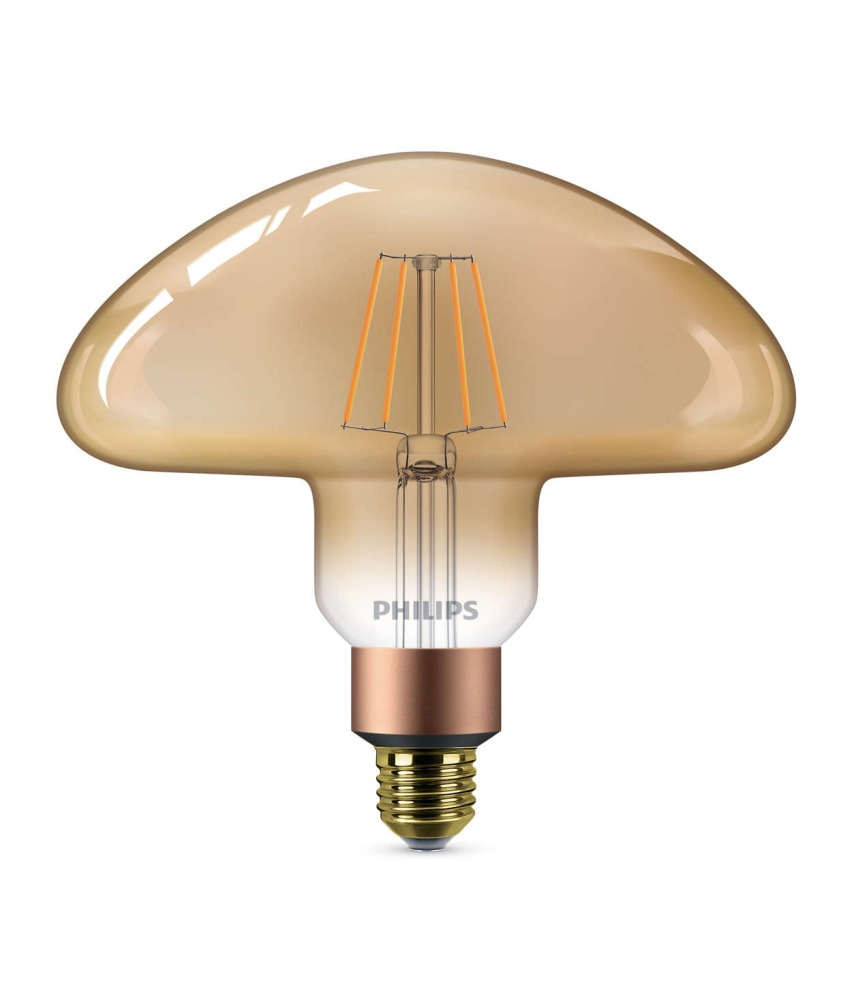Philips Classic LEDbulb Vintage E27 Mushroom 5W 820 Gold   Dimmable - Replaces 30W