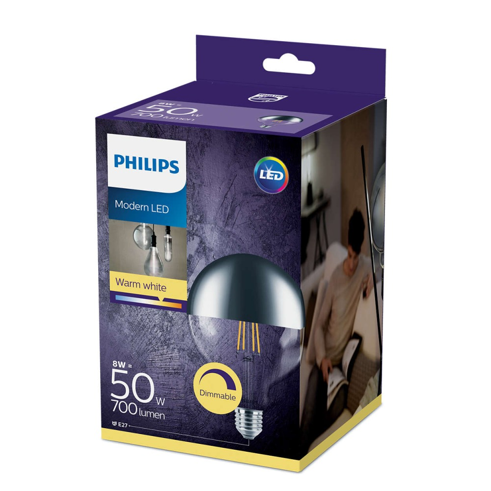 Philips Classic LEDglobe E27 G120 8W 827 Mirror - Dimmable - Replaces 50W